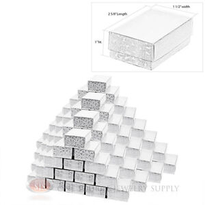 100 Silver View Top Cotton Filled Jewelry Gift Boxes 2 5 8 X 1 1 2