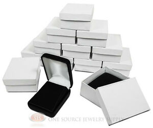 12 Piece Black Leather Pendant Earring Jewelry Gift Boxes 2 1 4 X 3 X 1 1 4