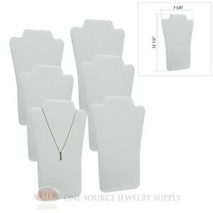 6 White Leather 12 1 2 Padded Pendant Necklace Display Easel Presentation