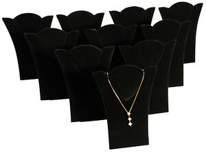 10 New Black Velvet Padded Necklace Pendant Display 6