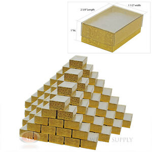 100 Gold View Top Cotton Filled Jewelry Gift Boxes 2 5 8 X 1 1 2