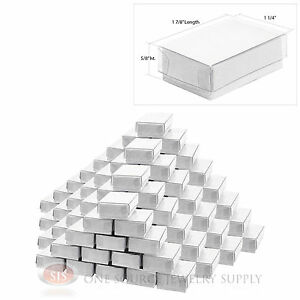 100 White View Top Cotton Filled Jewelry Gift Boxes 1 7 8 X 1 1 4