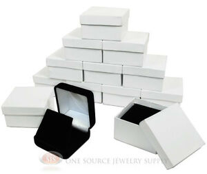 12 Piece Pendant Earring Black Velvet Jewelry Displays Boxes 2 5 8 w X 2 5 8 d