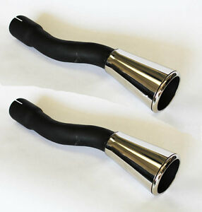 New 1965 1966 Ford Mustang Dual Exhaust Tips Trumpets Stainless Steel Gt Pair