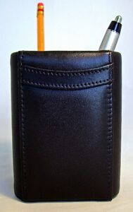 Bey Berk Pen Pencil Holder Square Cup Genuine Black Leather Desk Accessory Mib
