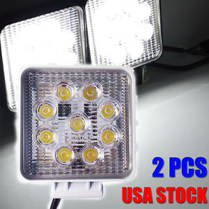Lx7 2x Square 27w 2430lm Flood Led Work Lights Driving Off Road Boat Truck 4wd