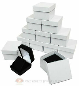 12 Piece Black Leather Earring Jewelry Gift Boxes 1 7 8 w X 2 1 8 d X 1 1 2 h
