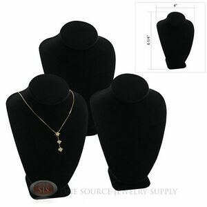 3 6 1 4 Pendant Necklace Black Velvet Neck Form Jewelry Presentation Displays