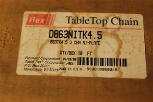 Rexnord Table Top Chain D863nitk4 5 10ft 4 1 2 New