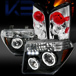 Fit 05 07 Nissan Pathfinder Black Halo Led Projector Headlights clear Tail Lamps