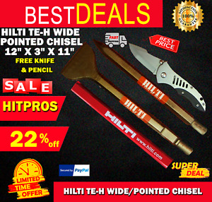 Hilti Te h Wide pointed Chisel 12 X 3 X 11 Free Knife L k Fast Shipping