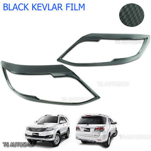 Carbon Front Head Lamp Light Cover Fit Toyota Fortuner Suv 4x4 2012 13 15