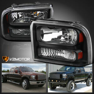 Fits 2005 2007 Ford F250 F350 F450 Superduty Headlights Black Headlights Lamps
