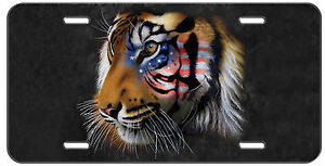 Patriotic License Plate American Flag Tiger Auto Tag