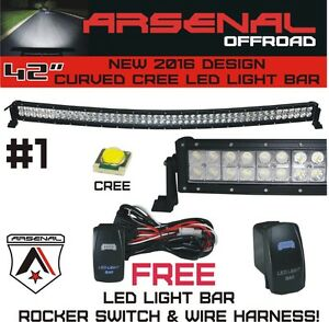 1 42 Inch Curved 240w Cree Led Light Bar By Arsenal Offroad Tm Spot Flood Combo