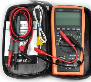 New Vc99 3 6 7 Auto Range Digital Multimeter Dmm Ac Dc V A R C Freq With Bag