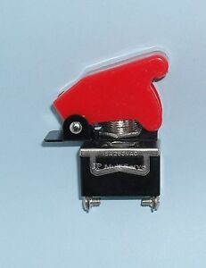1 Spst On off Full Size Toggle Switch With Red Safety Cover