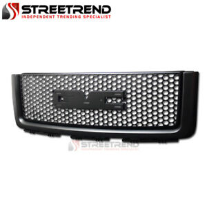 For 2007 2013 Gmc Sierra 1500 Round Mesh Front Bumper Grille Grill Guard Black