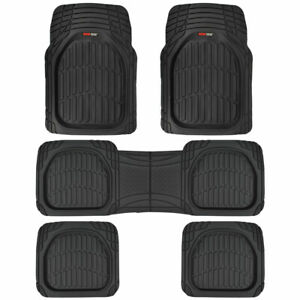 3 Row Rubber Suv Van Car Floor Mats Deep Dish All Weather Heavy Duty Black 5pc