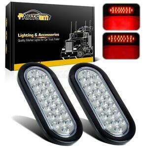2xoval Brake Stop Tail Turn Lights Flush Mount 6 24 Led Truck Trailer Clear Red