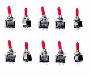 10 On off Spst Red Handle Mini Toggle Switches