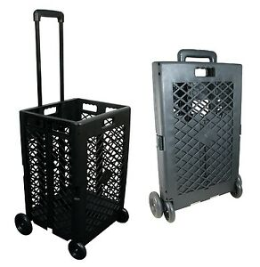 Foldable Rolling Cart Portable Utility Mesh Basket Roll Wheel Storage Grocery