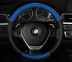 Blue Black Chrome Accent Steering Wheel Cover New Anti Slip 14 5 To 15 5 m