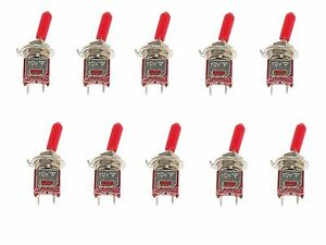10 Subminiature Spst Toggle Switch On off Mini With Red Handle Cover