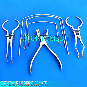 Rubber Dam Kit Endodontic Hole Punch Plier Ainsworth Clamp Forceps Stokes Dental
