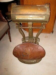Old Large Brass Plated Metal Scale Produce Scale Grocery Scale