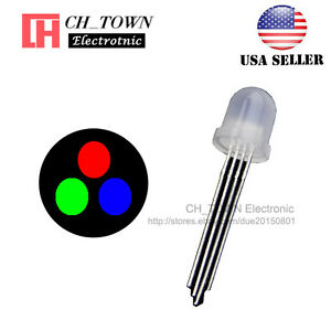 50pcs 8mm Diffused 4pin Rgb Tri color Red Green Blue Common Anode Led Diodes Usa