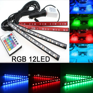 Rgb Color Bar Glow Dash Footwell Interior Light 12 Led Strip Lamp Smd For Dodge
