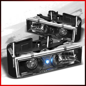 Fits 88 98 Chevy C k Series Suburban 95 99 Tahoe Led Blk Projector Headlights