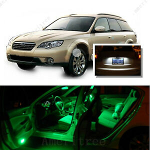 For Subaru Outback 2000 08 Green Led Interior Kit xenon White License Light Led