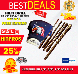Hilti Drill Bit 1 2 3 8 1 4 Sds Plus Set Of 5 Free Extras Fast Shipping