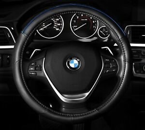 Black Steering Wheel Cover Blue Chrome Anti Slip Accent Color Line