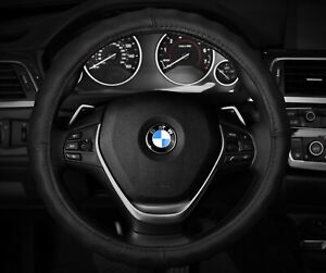 Steering Wheel Cover Genuine Leather Black Breathable Leather 14 5 15 5 m