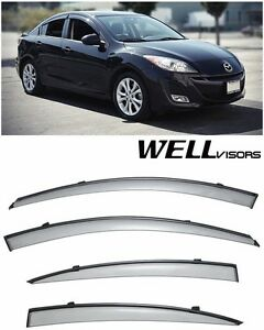 For 10 13 Mazda 3 Sedan Wellvisors Side Window Visors W Black Trim