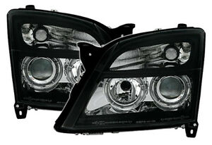 Clear Black Finish Angel Eyes Headlights For Opel Vectra C Signum