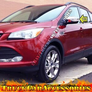 For 2013 2014 2015 2016 Ford Escape Chrome 2 Top Mirror Covers Without Signal