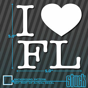 I Heart Love Fl Vinyl Decal Sticker Bumper Florida Window State Oval