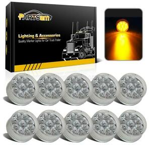 10x 2 Round Led Marker Light Clear amber 9led W Flower Petal Look Trailer Light