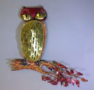 Mid Century Modern Brutalist Owl Sculpture Wall Hanging Jere Style Lava Drip