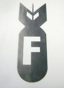 F Bomb Metal Emblem Badge Rocket Hot Rat Rod Chopper Biker