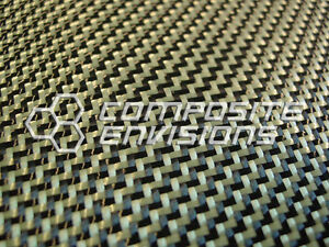 Carbon Fiber Made With Kevlar Yellow Fabric 2x2 Dual Twill 50 3k 7 2oz Hd