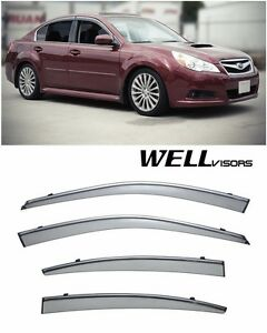 For 10 14 Subaru Legacy Wellvisors Side Window Deflectors Visors W Chrome Trim