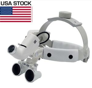 3 5x Dental Surgical Medical Headband Loupes With 5w Led Light Dy 106 Us Stock