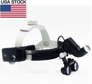 2 5x Dental Surgical Headband Loupes Magnifier With 5w Led Light Dy 105 Us Stock
