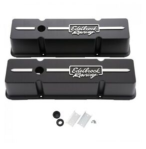 Edelbrock 41643 Racing Series Tall Profile Valve Covers For 262 400 Chevy V8