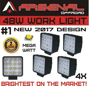 4pcs 48w Square Led Work Light Spot Beam Lamp For Tractor Offroad Truck Jeep Atv